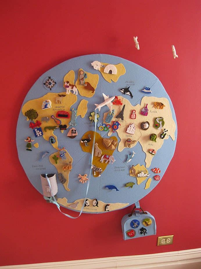 AMAZING FELT WORLD MAP - World globe map for kids