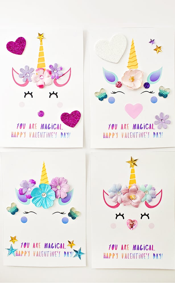 photograph regarding Free Printable Unicorn Valentines titled Do it yourself UNICORN VALENTINE Playing cards