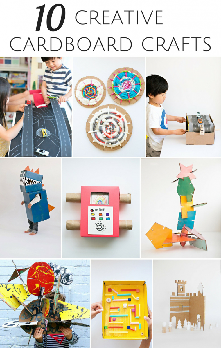 10 creative ways to recycle cardboard into kids 39 crafts for Creative ways to recycle