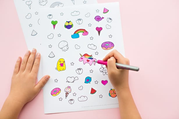 Cute Easter Egg Sticker Art With Free Printablbe Coloring Page
