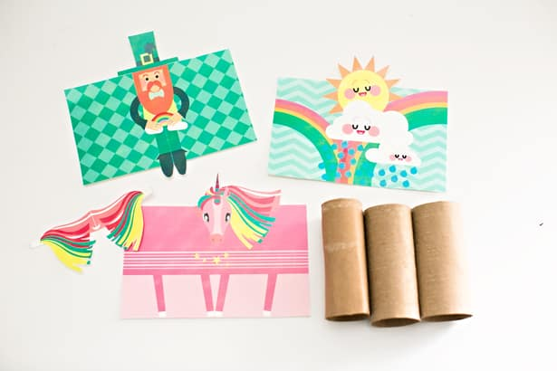 Happy Cloud Unicorn And Leprechaun Paper Tube Craft With Free