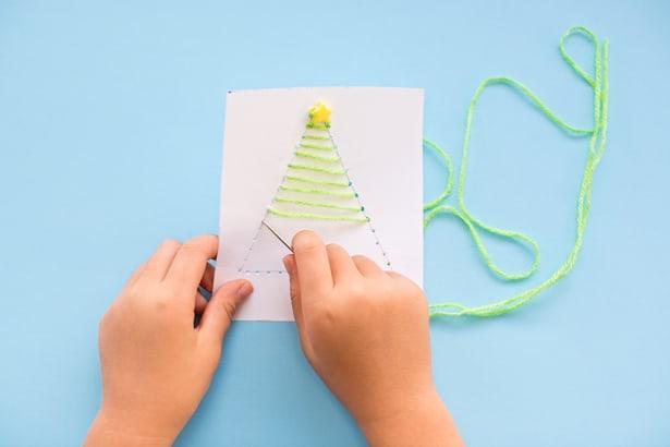 Kid Made Diy String Art Christmas Cards