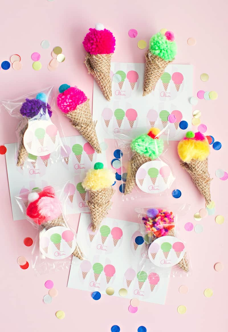 the cutest mini pom pom ice cream cone party favors