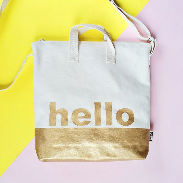 Best DIY GOLD DIPPED HELLO TOTE BAG JO43