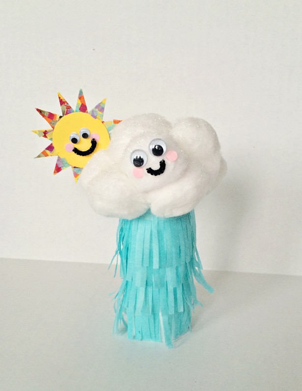 Diy rain cloud paper tube craft for How to make a paper cloud