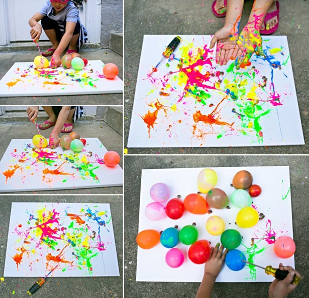 Balloon splatter painting with tools fun outdoor art for Painting craft projects