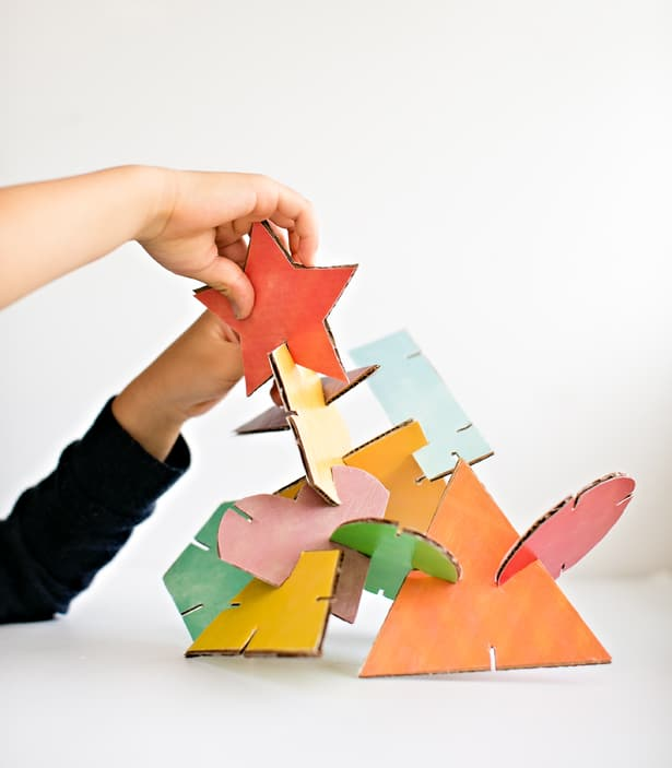 Geometric Cardboard Shape Sculptures With Free Printable