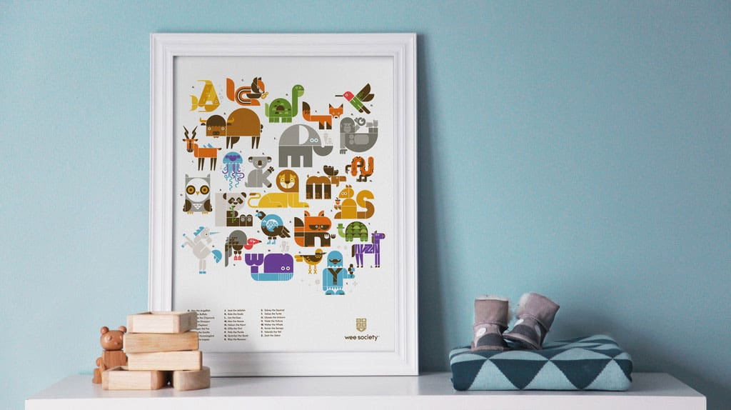 Each Quirky Animal Hides A Letter Of The Alphabet In This Unique Abc Print