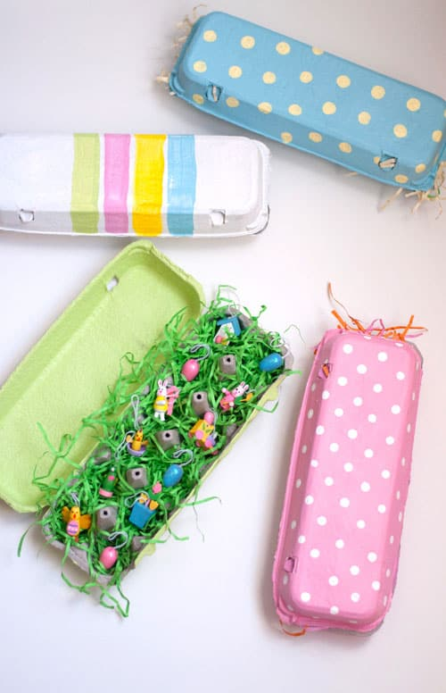 Hello wonderful make egg carton gifts them into pretty painted gift boxes you can fill with trinkets and toys for the kids they could easily be used as a creative easter basket too negle Image collections