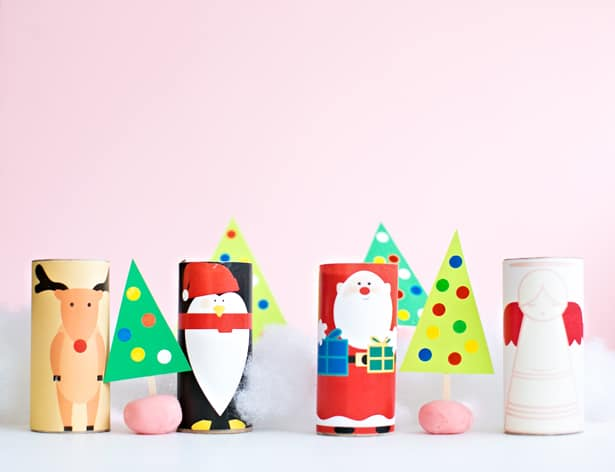 graphic relating to Free Printable Christmas Paper titled Xmas PAPER TUBE People WITH Absolutely free PRINTABLE TEMLATES