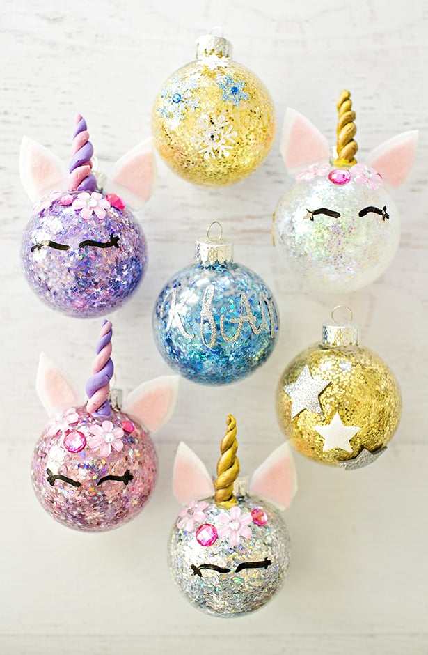 Diy glitter unicorn ornaments to keep the unicorn ornaments simple so that even kids can make them we simply used craft clay for the horn and stickers for the flowers solutioingenieria Choice Image