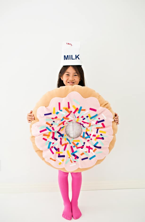 Diy no sew felt donut costume for kids for Unique halloween costumes for kids