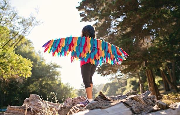 Realistic Rainbow Tailed Bird Cosplay Wings