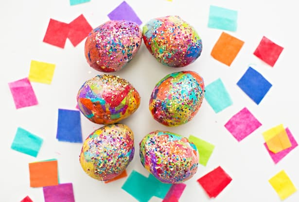 SPARKLY DIY GLITTER AND TISSUE PAPER EASTER EGGS