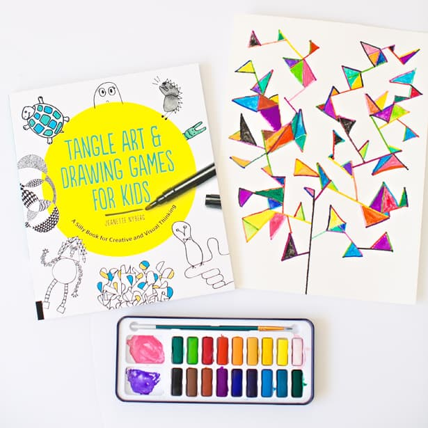 EASY WATERCOLOR GEOMETRY TREE ART PROJECT FOR KIDS