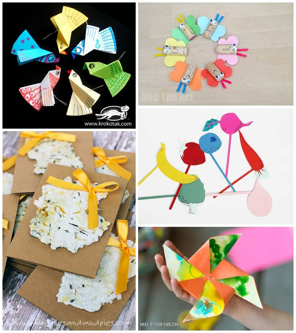 20 fun spring crafts to celebrate spring recycled paper seed cards fireflies and mud pies 4 fruit and veggie props hello wonderful 5 kids art pinwheel make it your own jeuxipadfo Image collections