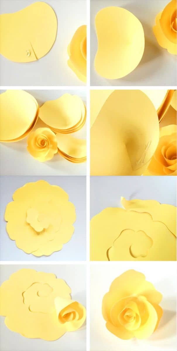 How to make diy paper roses with free printable template for Free printable paper flower templates