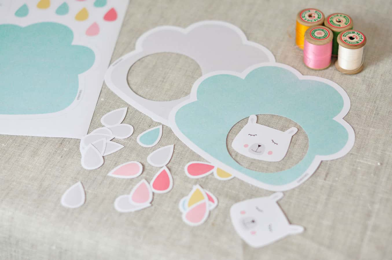 cute paper cloud raindrop mobile with free printable template