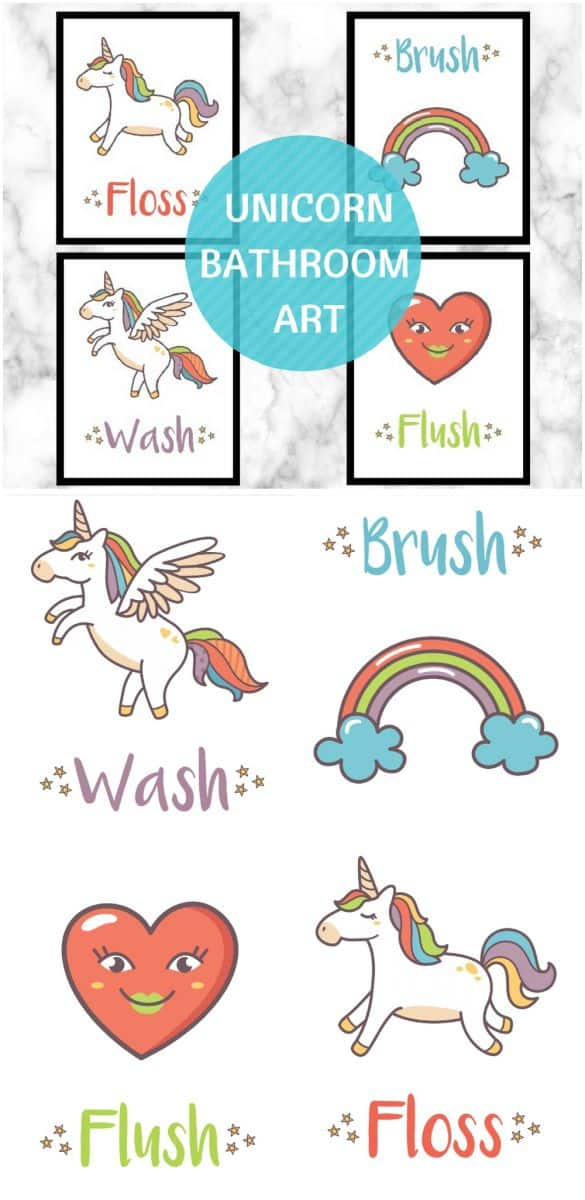 graphic regarding Free Printable Wall Art for Bathroom identified as UNICORN Lavatory WALL Artwork Totally free PRINTABLE