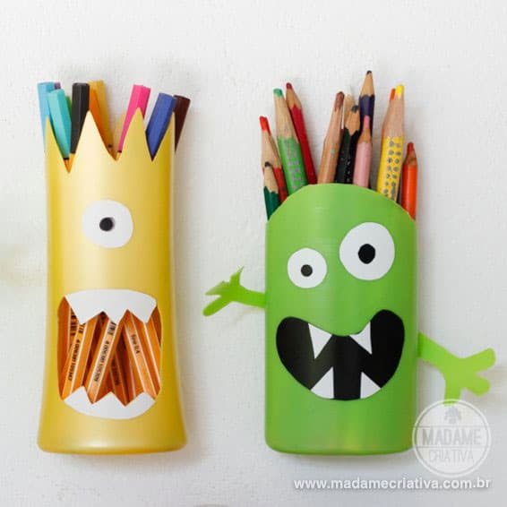 DIY SHAMPOO MONSTER PENCIL HOLDER