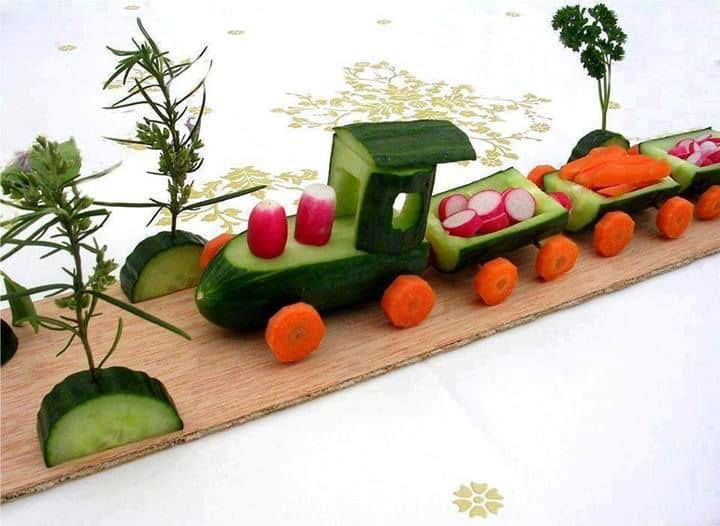 Cucumber Train Via Pinterest If Youve Got Some Carving Skills This With Carrot Wheels Is A Healthy Party Food To Serve