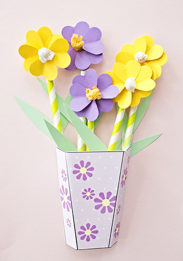 How to make 3d paper flower bouquets with video we used 5 flowers per vase simply add the flowers inside the vase use double stick tape to secure to cardstock so they dont fall around or move mightylinksfo