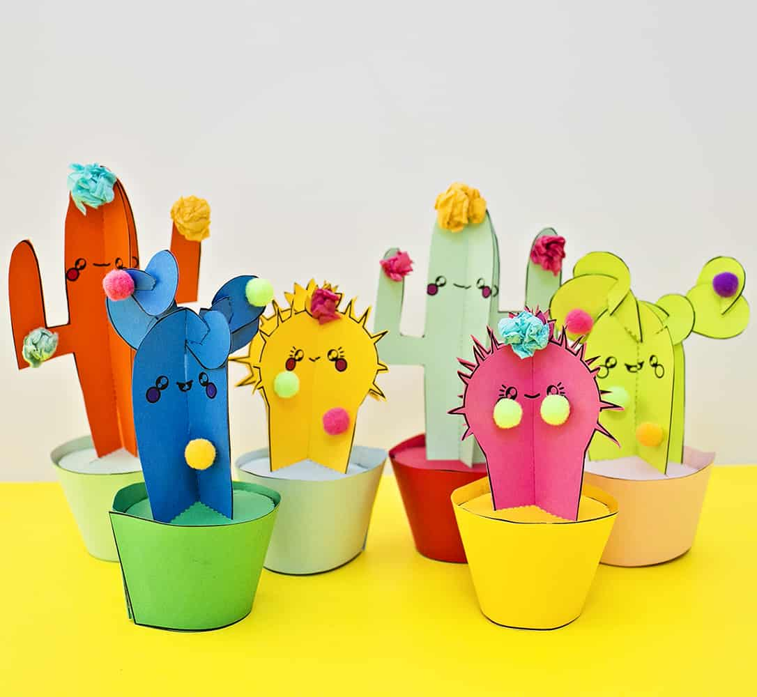 Diy Happy Cactus Paper Plants With Templates