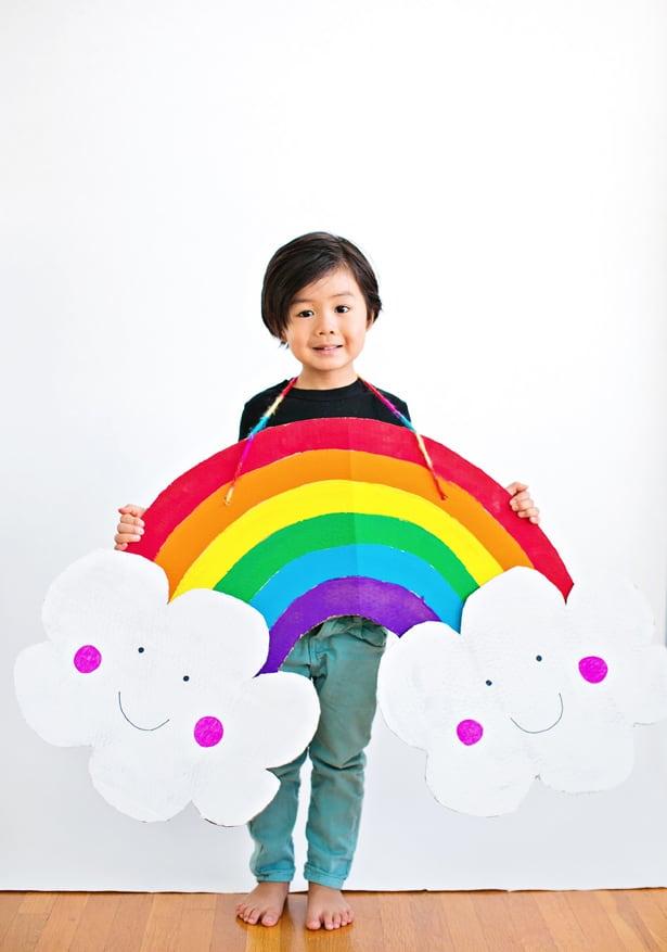 DIY HAPPY CARDBOARD RAINBOW COSTUME FOR KIDS