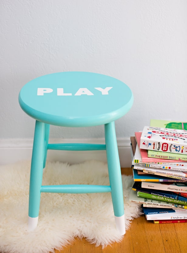 Easy Diy Painted Children S Stool With Stenciled Letters