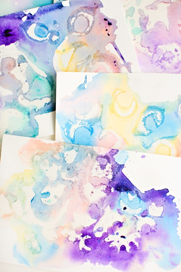 Marbled watercolor and oil painting with kids for Watercolor painting and projects