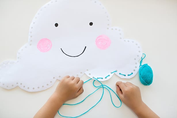 Simple Hand Sewing Ideas for Kids - Happy Paper Cloud Pillow