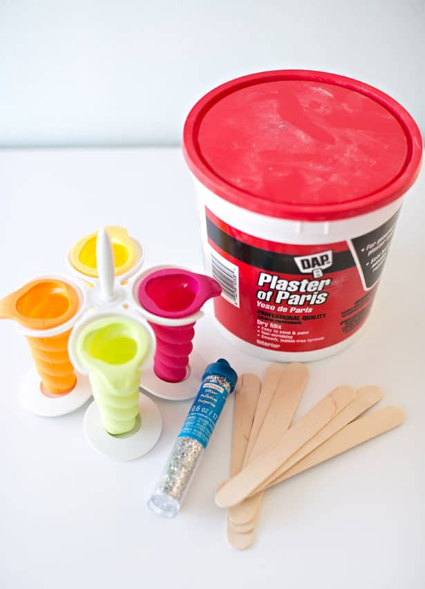 Materials to make DIY Sidewalk Chalk Popsicles
