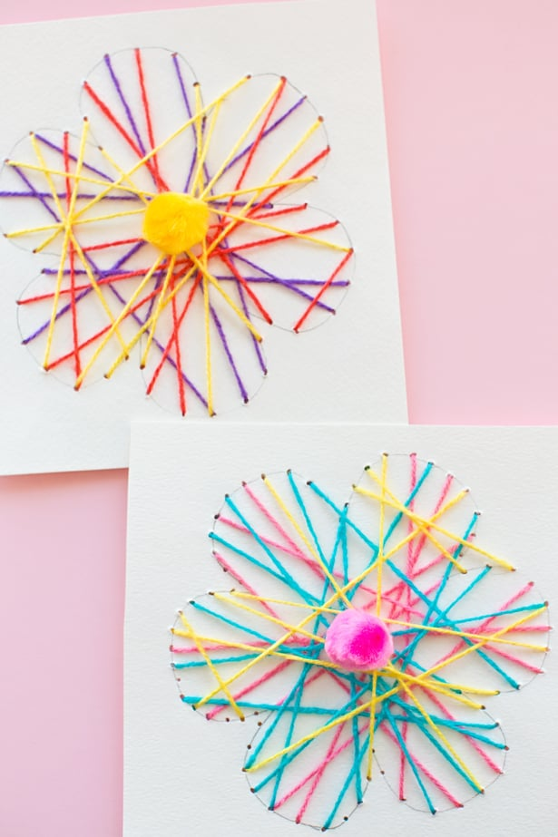 Kid made diy string art flower cards these easy handmade cards are fun for kids to thread through and great for practicing fine motor skills andor a good beginner exercise in stitching thecheapjerseys Images
