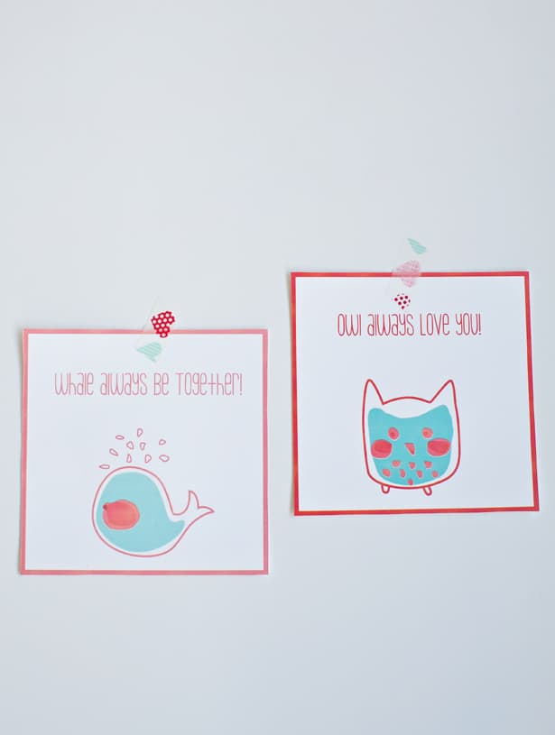 free printable whale and owl valentine cards