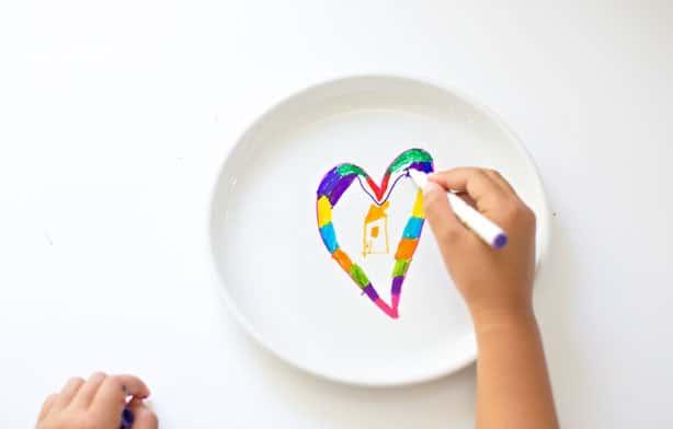Diy Kids Sharpie Art On A Plate