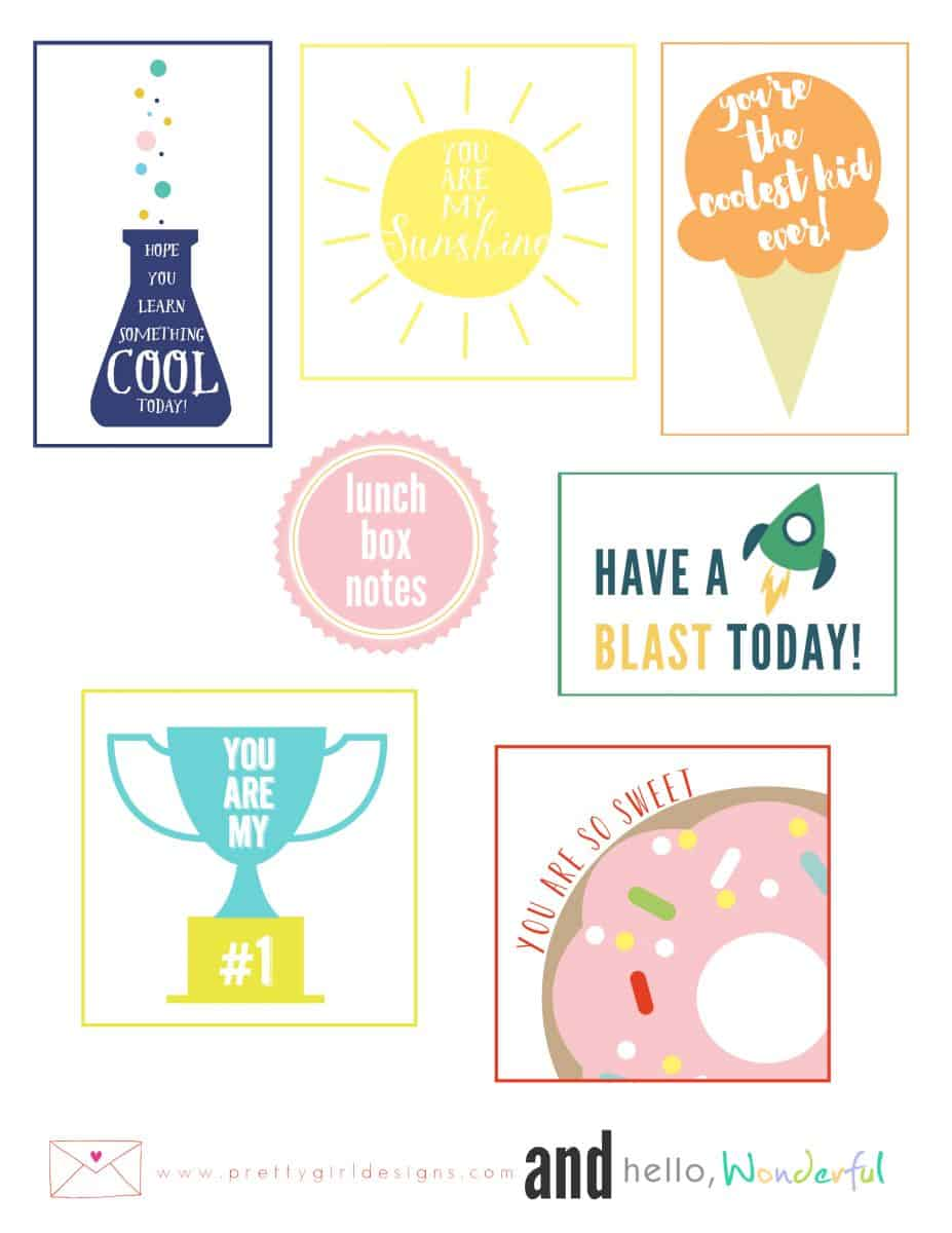 graphic regarding Printable Lunchbox Notes known as Adorable No cost PRINTABLE LUNCHBOX NOTES