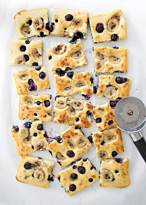 Banana Blueberry Sheet Pan Pancakes