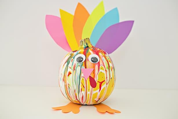 colorful squeeze paint pumpkin turkey