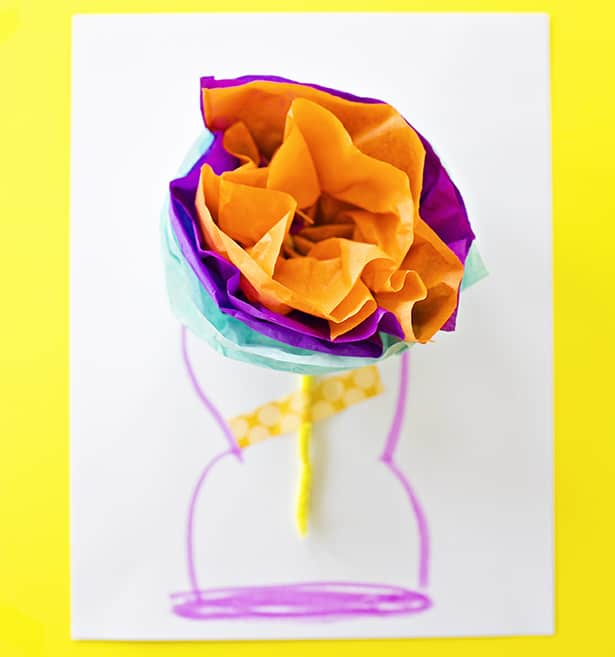 How to make tissue paper flower cards with video tape your tissue paper flower on the center write a sweet message on the back or front mightylinksfo