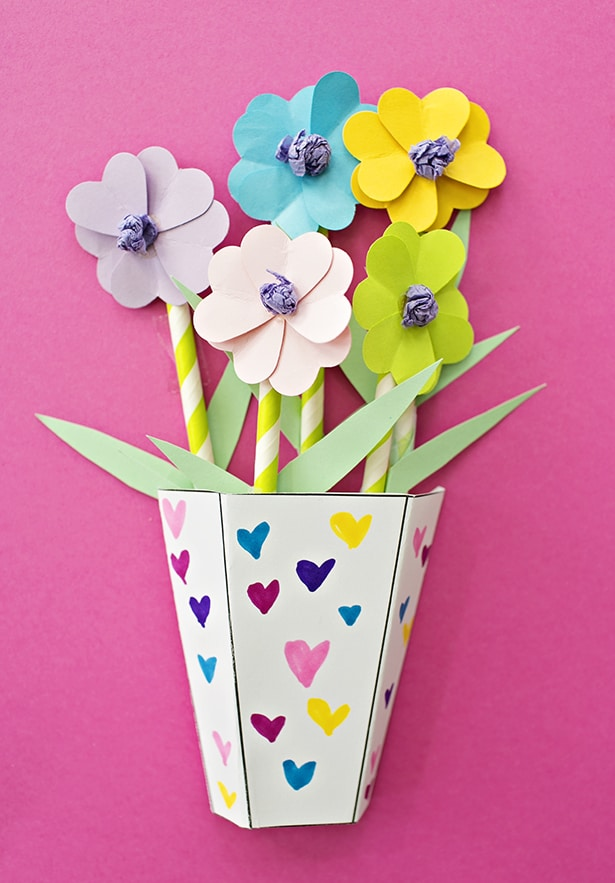 How to make 3d paper flower bouquets with video we used 5 flowers per vase simply add the flowers inside the vase use double stick tape to secure to cardstock so they dont fall around or move mightylinksfo Choice Image