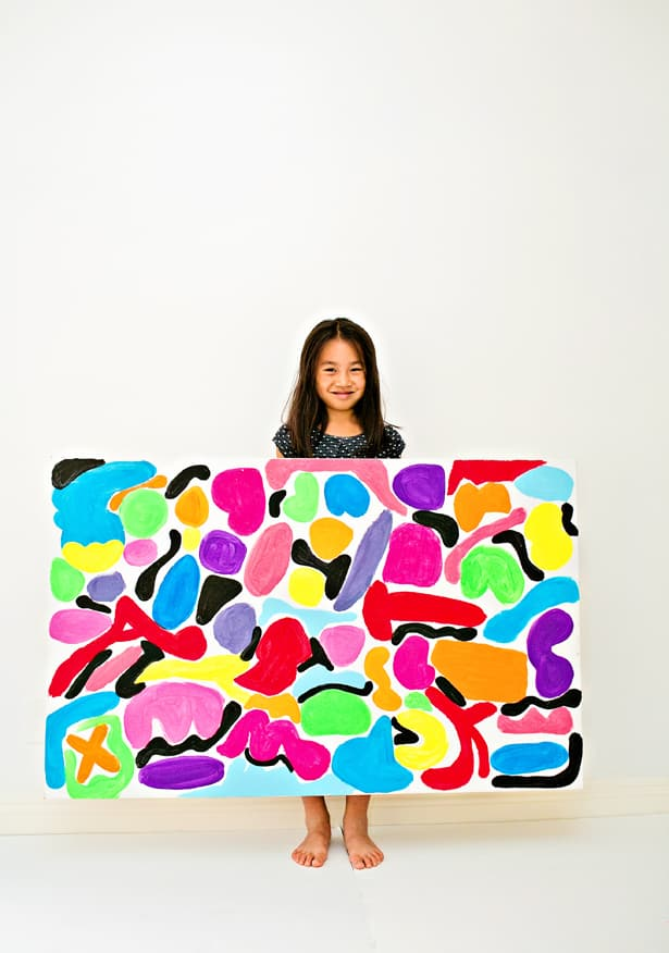 Big Canvas Art Painting With Kids Inspired By Matisse