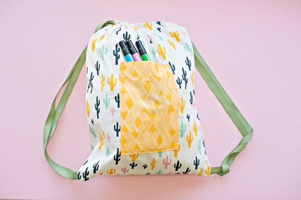 Easy sewing with kids 30 minute drawstring fabric backpack for Children s furnishing fabrics