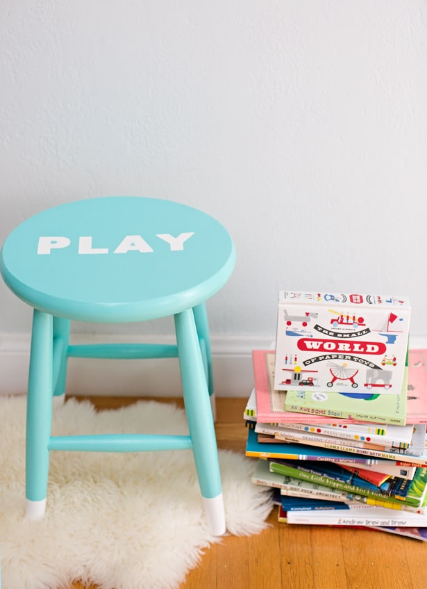 Easy diy painted children 39 s stool with stenciled letters for Diy kids stool