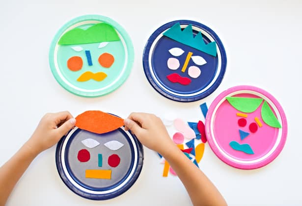 When youu0027re done simply glue the felt pieces on your plates.  sc 1 st  Hello Wonderful & MIX AND MATCH FELT PAPER PLATE FACES