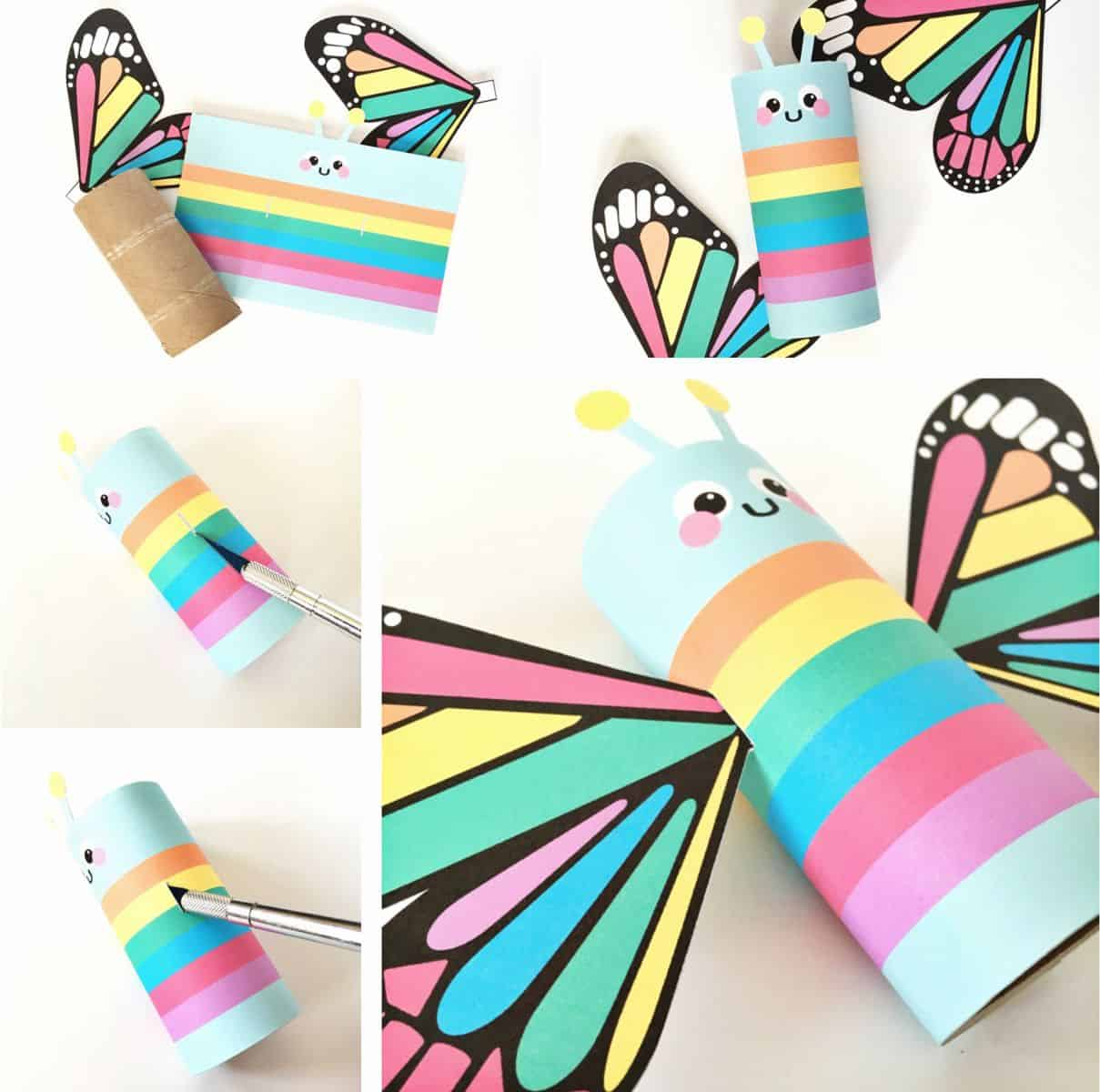Rainbow Butterfly Paper Tube Craft With Free Printables