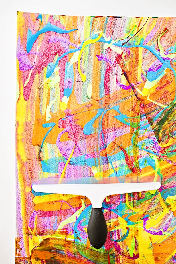 this vibrant rainbow squeegee painting method is inspired by make it your owns squeegee painting tutorial we adjusted by using various colors of the - Color Painting For Kids