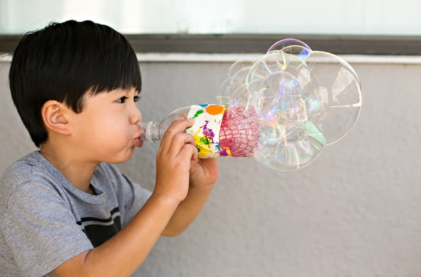 Diy recycled bottle bubble blower for How to make bubbles liquid at home