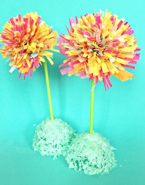 Diy spring tissue paper fringe flowers step 1 i purchased some small styrofoam balls from the dollar store awesome find cheap and the bag contains many sizes puncture a hole in the styrofoam mightylinksfo