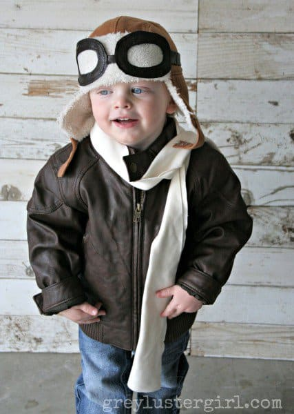 aviator costume via grey luster girl sew up some easy leather aviator glasses add a bomber jacket and scarf and your little pilot will be ready for the - Last Minute Toddler Halloween Costumes