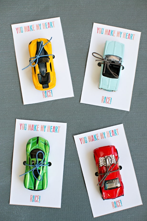 Race card valentine cards. Car favors for kids with free printable template